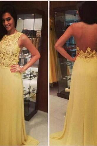 Pretty Yellow Prom Dresses ,Appliques Prom Dress Formal Dress Evening Dress,Formal Gown,Celebrate Dresses ,Special Occasion Dresses,Backless Prom Dress