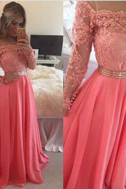 Fashion hot sale off shoulder long sleeves long prom dress,appliqued and beaded evening dress formal,party dress for wedding