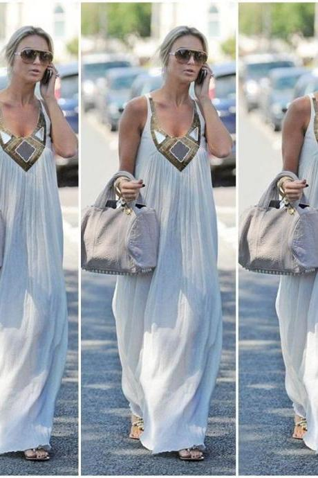 Casual Sexy Women Summer Boho Long Maxi Evening Party Dress Beach Chiffon Dress