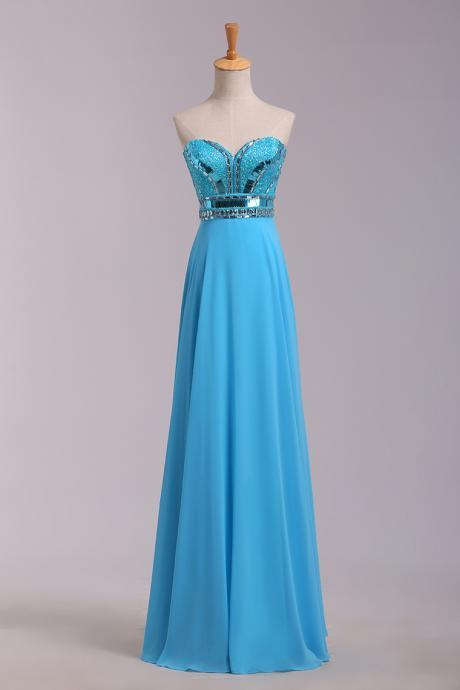 Sweetheart long dress prom,beaded blue chiffon dress for partys,elegant crystal evening dress long,fashion dress blue