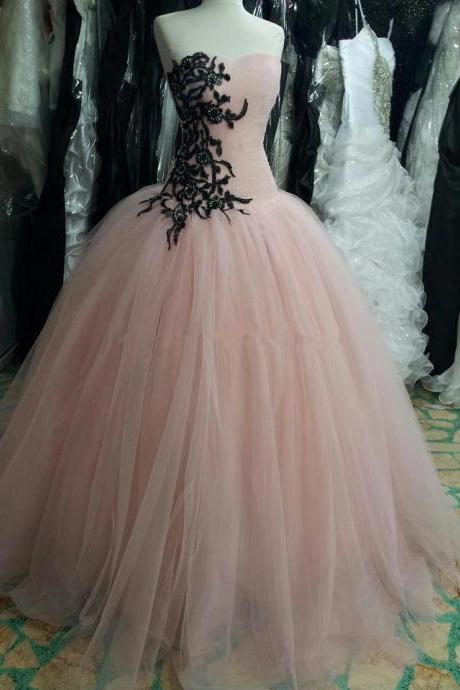 Real Photo 2015 Princess Ball Gown ,Pink Prom Dress, Party Dresses, with Lace Appliques and Sequins