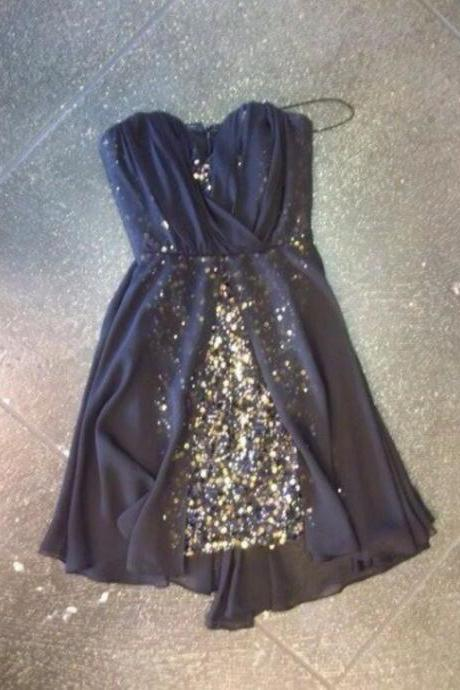 Cute Navy Blue Chiffon Homecoming Dress with Sequins, Cute Mini Prom Dresses, Lovely Gradaution Dresses