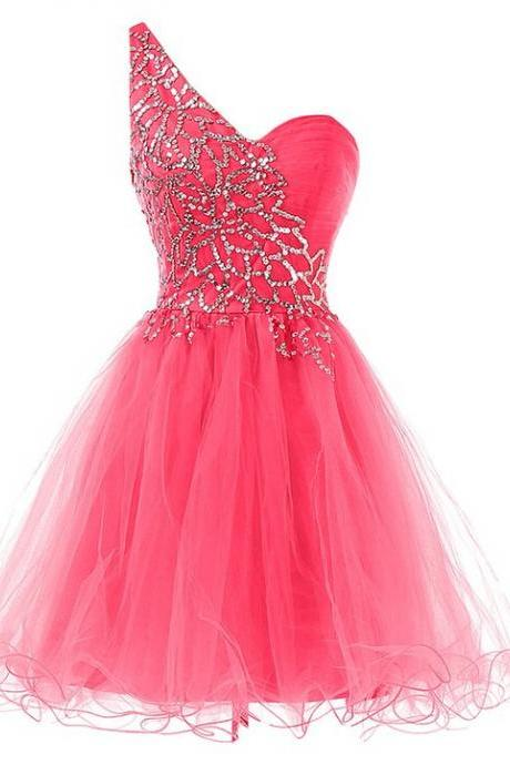 Custom Made Red Charming Homecoming Dress,Tulle Homecoming Dress,Sequined Homecoming Dress,One-Shoulder Homecoming Dress, short prom dress