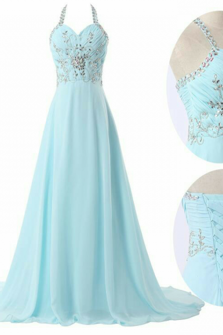 Custom Made A Line Halter Neck Sweep Train Prom Dresses, Long Evening Dresses, Formal Dresses