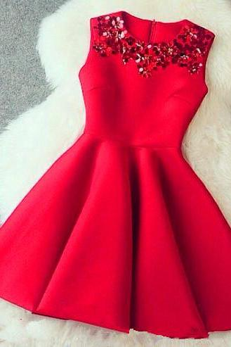 Red Homecoming Dress ,Short Homecoming Dresses, Satin Homecoming Gowns,Sweet 16 Dress, Red Beading Homecoming Dresses, Casual Party Dress