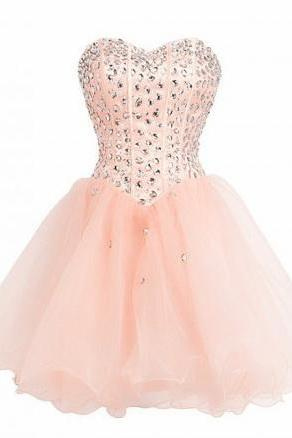 Homecoming Dresses, Blush Pink Prom Dresses, Tulle Homecoming Gowns, White Party Dress, Short Prom Gown ,Lilac Cocktail Dress, Beading Homecoming Dresses 2015 For Teens
