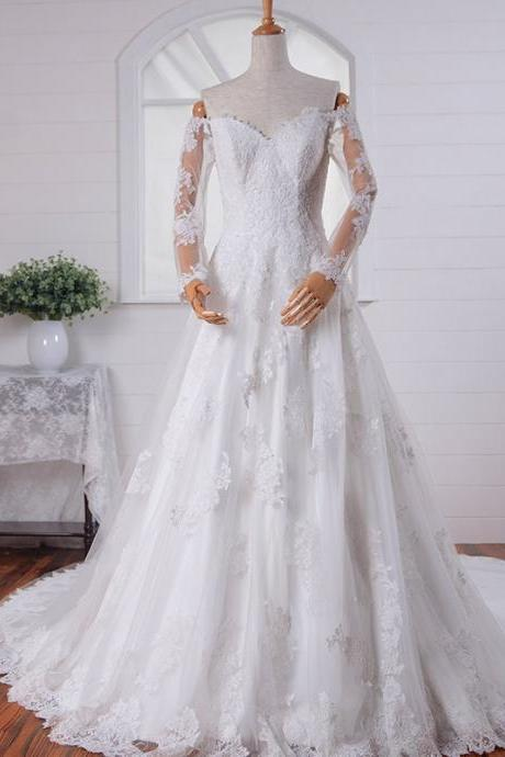 White/Ivory Lace Wedding Dress Handmade Chiffon Long Sleeve Elegant V-Back Sweep Train Lace Bridal Gowns