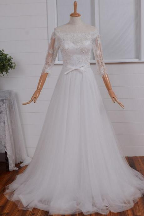Ivory Wedding Dress Beautiful Lace Wedding Long Gown Wedding Gown Bridal Hot Sale Wedding Dress