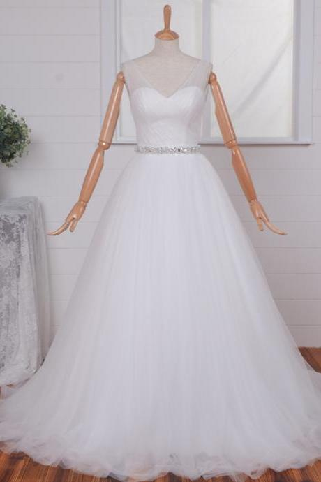 2015 V-Neck Tulle White/Ivory Lace Wedding Dress Handmade Chiffon Long Sleeve Elegant V-Back Sweep Train Lace Bridal Gowns