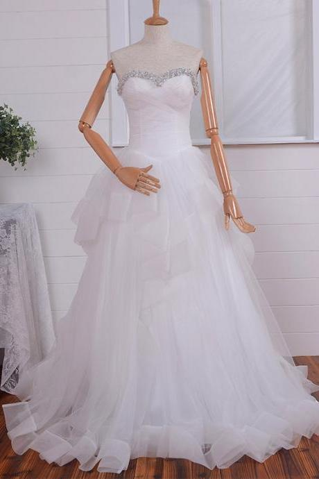 Strapless Sweetheart Jewel Embellished Ruched A-line Wedding Dress Featuring Ruffled Skirt and Lace-Up Back