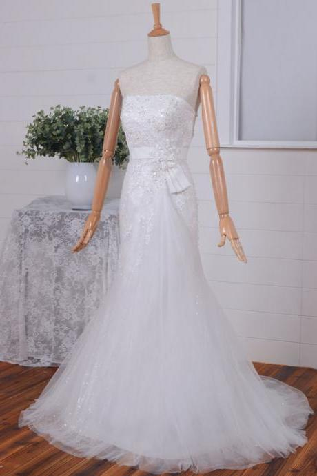 2015 Empire waist wedding dress/strapless wedding dress/Sweetheart wedding dress/sequin wedding dress/A-line wedding dress/long dress