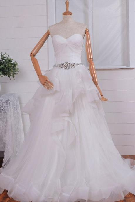 Beaded Sash Tulle Sweetheart Neckline with Ruffled Organza Skirt Wedding Dress