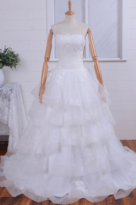 Beautiful Applique Organza layer Wedding Dresses,wedding Gown ,Organza Wedding Dress/Ivory Wedding Dresses