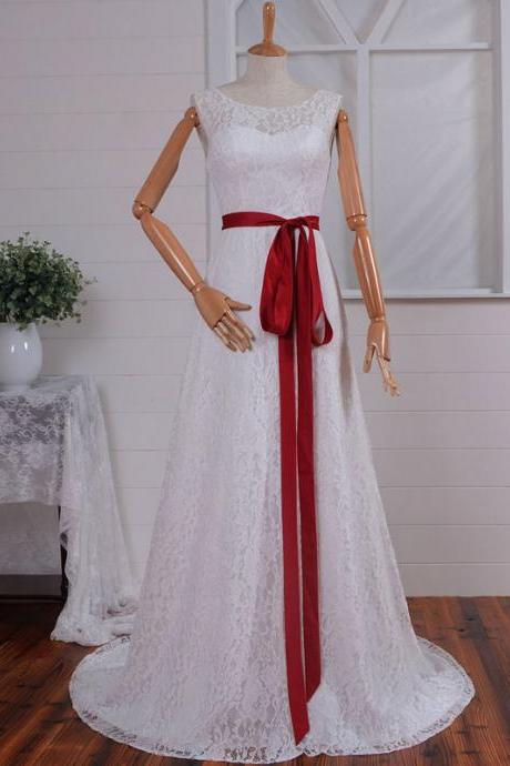 O-neck Lace Sweetheart A-line with Red Sash Open Back Lace up Wedding Dresses
