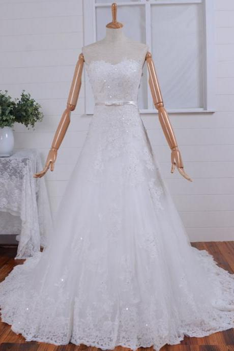 Strapless Applique A-line Tulle with Jacket Lace up Wedding Gown and Wedding Dresses