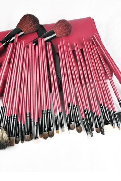 30Pcs Pro Red&Black Deluxe Mineral Make Up Brush&Bag Set CK19DH8RKXBJD6FGHMHSO LEO2GD1MN3M