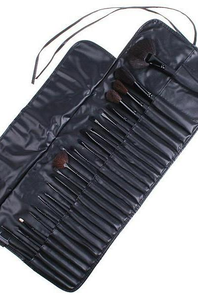Wholesale Good Quality 24 Pcs Makeup Brushes Set With Black Leather Bag 5JUIG7ZPKAJ4KX0QWMZ3O 082E26PODFJ