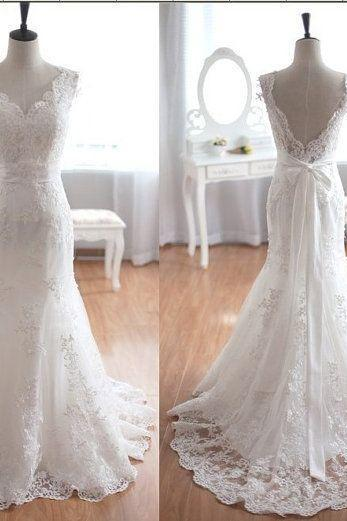 Elegant Women dress, Sleeveless V-Neck Prom Dress,lace wedding dress, Wedding dress, Dress for wedding L152