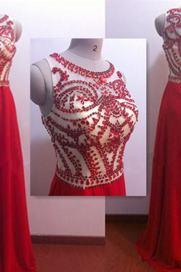 Red Long prom dress Round Neck Long Prom Dresses Elegant Women dress,Party dress L162