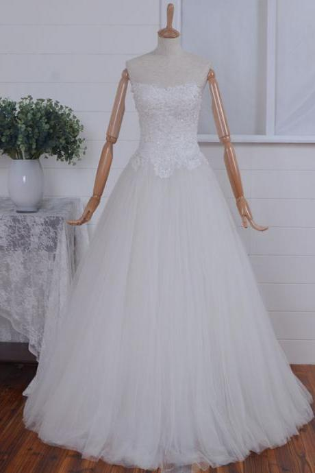 V-neck Applique Beading Tulle Wedding Dresses,Handmade Wedding Gowns,White/Ivory Wedding Dress,Bridal Dress