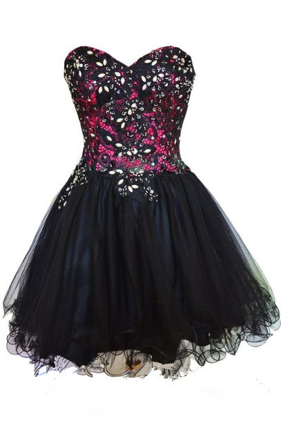 Black Homecoming Dress, Tulle Homecoming Dress, Cute Homecoming Dress ,2016 Fashion Homecoming Dress, Short Prom Dress, Fashion Homecoming Gowns ,Black Sweet 16 Dress, For Teens Formal Gowns