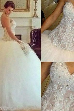 2015 New White/Ivory Wedding Dress Bridal Ball Gown Custom Size:6/8/10/12++++