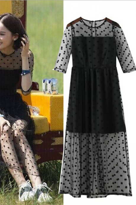 Fashion dot gauze lace dress 1391297