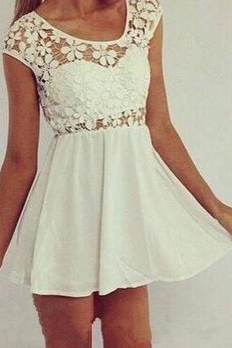 White Causal Homecoming Dress, Lace Prom Dresses ,Chiffon Homecoming Gown, Simple Sweet 16 Dress ,Homecoming Dresses Birthday Party Gown For Teens