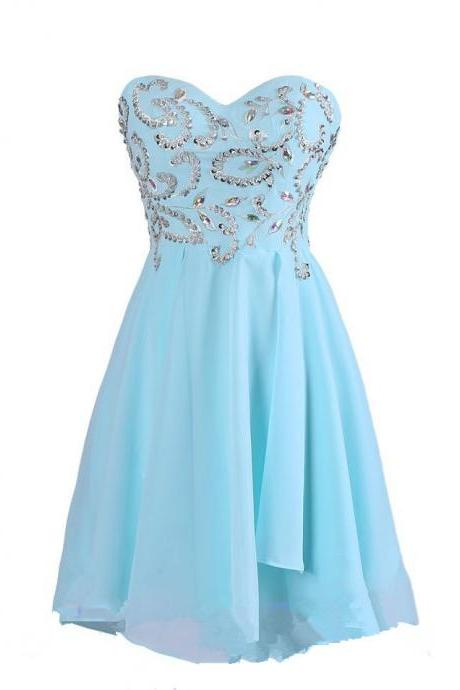 Blue Homecoming Dress ,Chiffon Homecoming Dresses, Simple Homecoming Gowns ,Strapless Party Dress, Short Prom Dress ,Sweet 16 Dress, Cute Homecoming Dresses For Teens