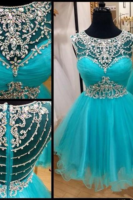 Blue Homecoming Dress, Short Prom Gown ,Tulle Homecoming Gowns ,A Line Beaded Party Dress, Elegant Prom Dresses