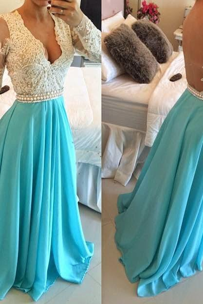 Long Sleeve Prom Dress V-Neck Prom Dress Lace Prom Dress Evening Dress Blue Prom Dress White Prom Dress