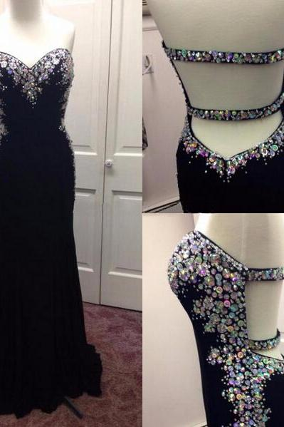 Black Prom Dress Floor-Length Prom Dress Open Back Prom Dress Cheap Prom Dress Sweet Heart Prom Dress Handmade Prom Dress Sleeveless Prom Dress Sexy Prom Dress
