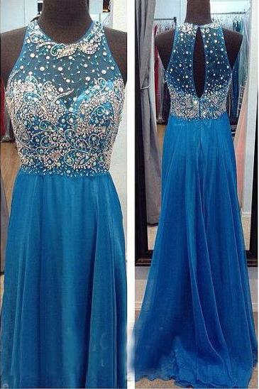 Backless Chiffon Prom Dresses Beading Evening Dresses Prom Dresses O-Neck Real Made Prom Dresses On Sale