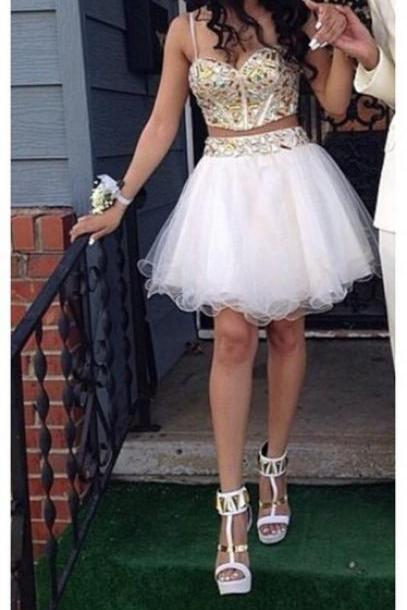 Two-Pieces Beading Homecoming Dresses Sweetheart Graduation Dresses Homecoming Dress Short/Mini Tulle Homecoming Dress