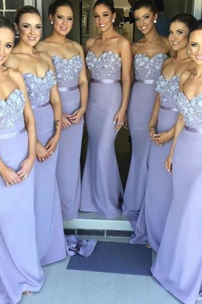 Appliques Bridesmaid Dresses,Sweetheart Floor-Length Bridesmaid Dresses, Bridesmaid Dresses, Bridesmaid Dresses For Wedding