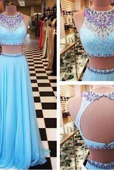 2017 Beading Prom Dresses A-Line Floor-Length Prom Dresses Two-Pieces Prom Dresses Prom Dresses Charming Backless Evening Dresses