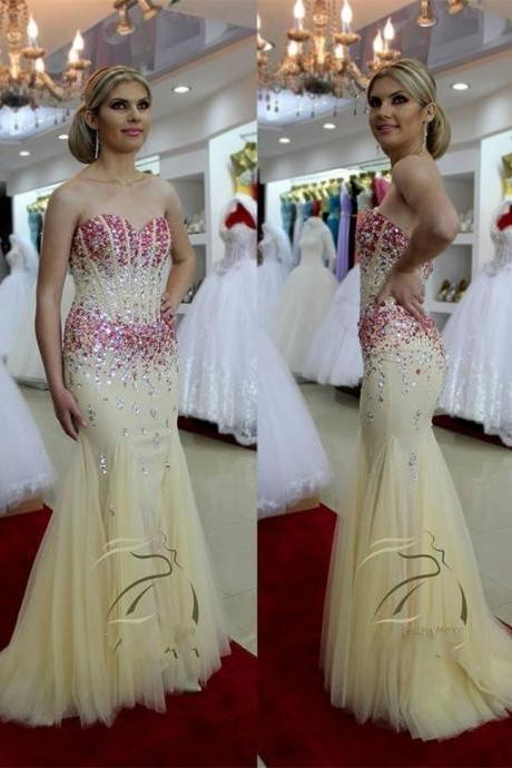 2015 Evening Dresses Luxury Crystal Evening Dresses Mermaid Evening Gowns Long Prom Dresses Formal Gowns Party Dresses