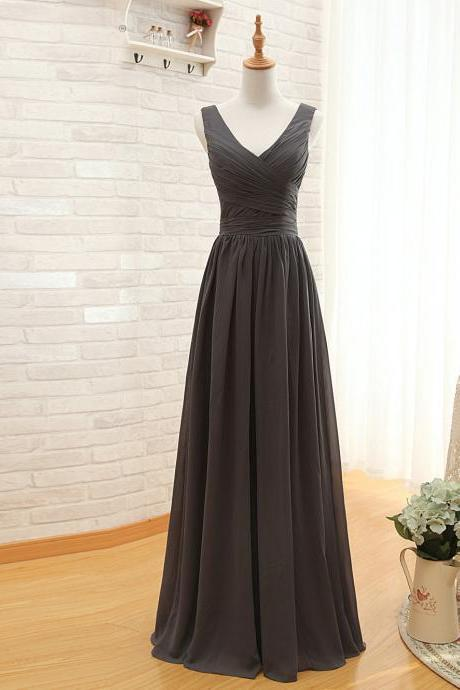 Black Chiffon Ruched Plunge V Sleeveless Floor Length A-Line Bridesmaid Dress, Plus Size Bridesmaid Dress