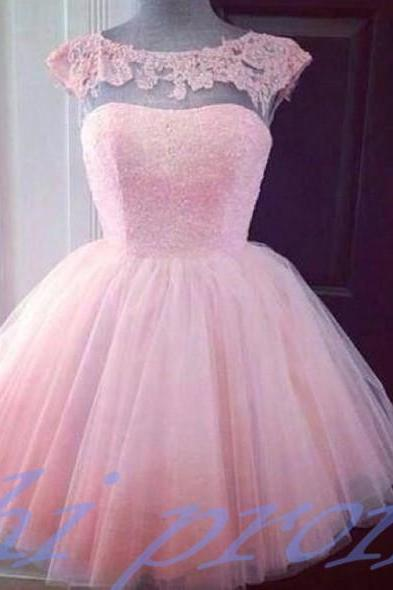 Pink Homecoming Dress,Lace Homecoming Dress,Cute Homecoming Dress,2015 Fashion Homecoming Dress,Short Prom Dress,Charming Homecoming Gowns,New Style Sweet 16 Dress,Short Evening Gowns