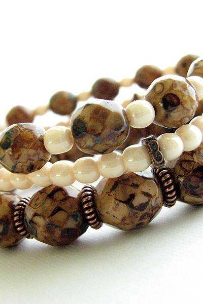 Stacking Stretch Bracelet Set - Czech Glass Beaded Bracelets, Brown, Cream and Copper Jewelry