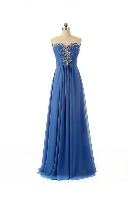 Blue Strapless Chiffon Long Prom Dress with Crystal Beaded Bodice and Sweetheart Neckline