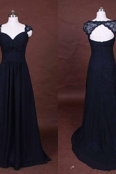 Charming Navy Blue Chiffon Long Bridesmaid Dresses with Lace, Navy Blue Bridesmaid dresses, Bridesmaid dresses
