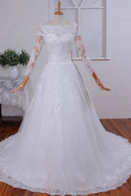 Long sleeve wedding dress - Swiss dotted tulle wedding gown - Tulle wedding dress - Peach wedding dress - Romantic wedding gown