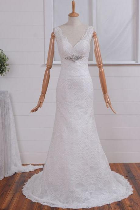 New White Sexy Lace Mermaid V neck Wedding Dress Bridal Gown, Nice Open back design bridal gown