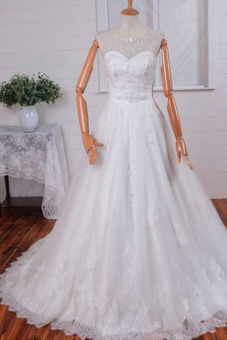 2016 Princess Illusion Neckline Lace Tulle Ruffles A-Line Applique Wedding Dress Wedding Gown Bridal Dress Bridal Gown