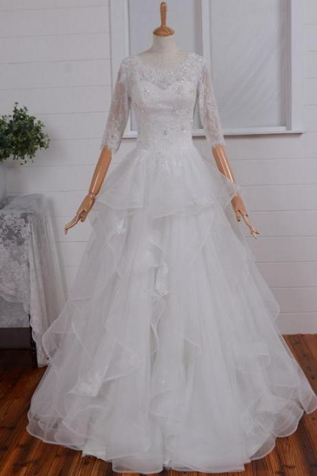 Most Beautiful Long Sleeve Illusion Back A-line Lace Tulle Wedding Dress, A-line Wedding Dress, Long Sleeves Wedding Gown