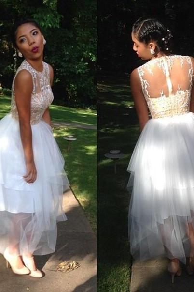 2016 Custom Made See Through Lace Formal Prom Dresses, Short Evening Dresses,Sweet Dress,Charming Prom Dresses,Party Dress/Cocktail Dress