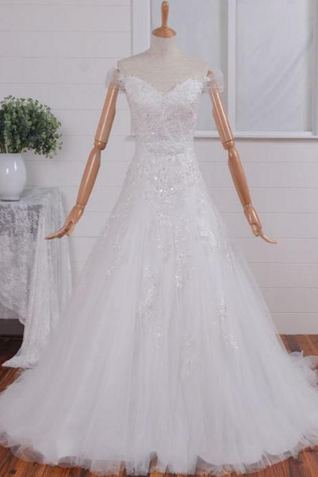 Unique Vintage Lace A-line Wedding Dress,Illusion Neckline Lace Wedding Dress Wedding Gown, Fairy Lace Bridal Dress Bridal Gown