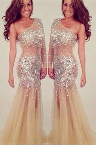 One Shoulder Beading Party Dress, Evening Dresses, Luxury Women Prom Dress