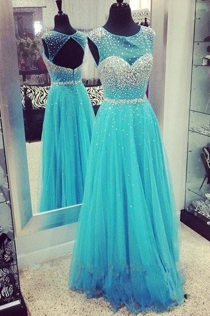 2016 Luxury Eveing Dresses ,SEXY Chiffon Tulle A-Line Prom Dress, Long A-Line DRESSES, BLUE Evening PARTY DRESSES